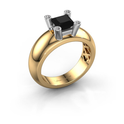 Ring Cornelia Square 585 gold black diamond 0.936 crt