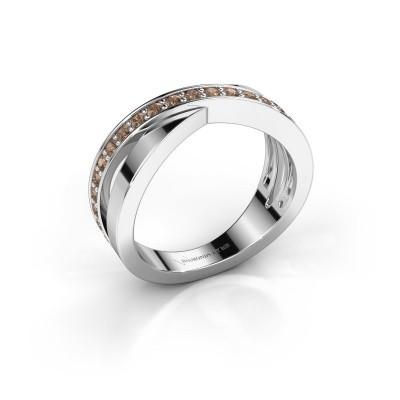 Foto van Ring Essie 585 witgoud bruine diamant 0.36 crt