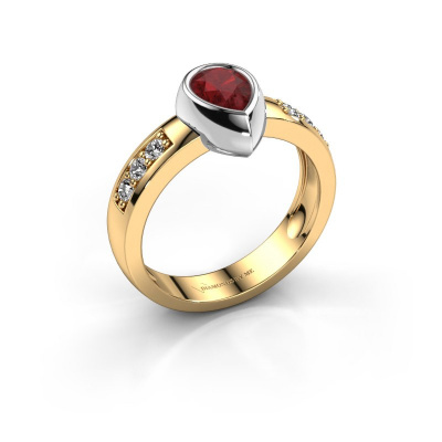 Ring Charlotte Pear 585 gold ruby 8x5 mm