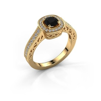 Bague de fiançailles Candi 375 or jaune diamant noir 0.875 crt