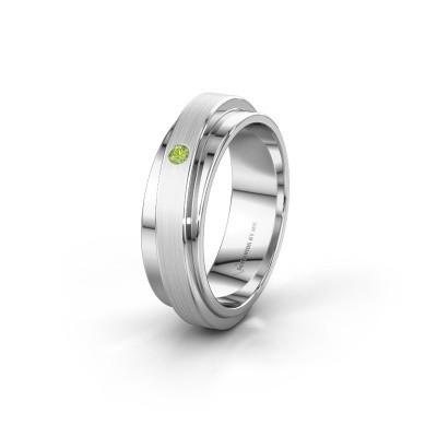 Huwelijksring WH2220L16D 585 witgoud peridoot ±6x2.2 mm