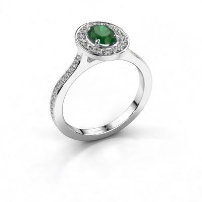 Ring Madelon 2 950 platina smaragd 7x5 mm