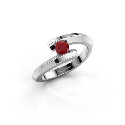Ring Paulette 925 zilver robijn 3.4 mm