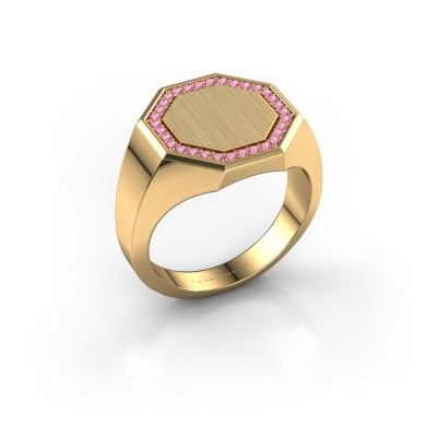 Heren ring Floris Octa 3 375 goud roze saffier 1.2 mm