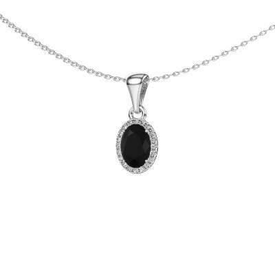 Hanger Seline ovl 585 witgoud zwarte diamant 1.06 crt