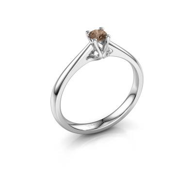 Bague de fiançailles Janna 1 585 or blanc diamant brun 0.15 crt