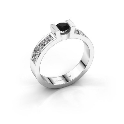 Verlovingsring Lieve 2 925 zilver zwarte diamant 0.30 crt