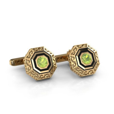 Cufflinks Dion 585 gold peridot 5 mm
