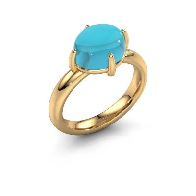 Ring Melodee 585 goud blauw topaas 10x8 mm