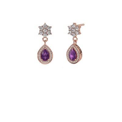 Picture of Drop earrings Era 585 rose gold amethyst 6x4 mm