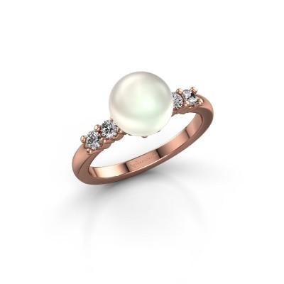 Foto van Ring Cecile 375 rosé goud witte parel 8 mm
