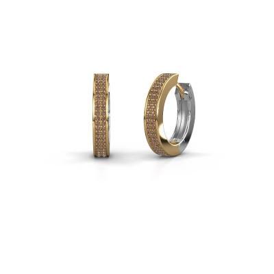 Foto van Creolen Renee 5 12 mm 585 goud bruine diamant 0.78 crt