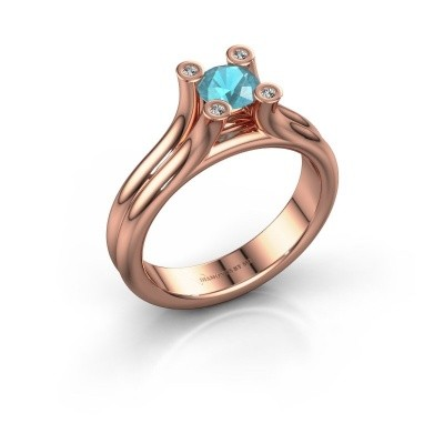 Engagement ring Stefanie 1 375 rose gold blue topaz 5 mm