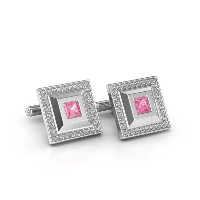 Picture of Cufflinks Joris 925 silver pink sapphire 4 mm