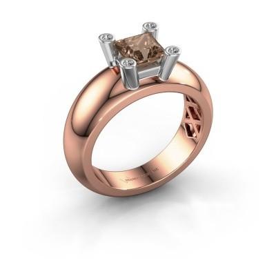 Ring Cornelia Square 585 Roségold Braun Diamant 0.78 crt