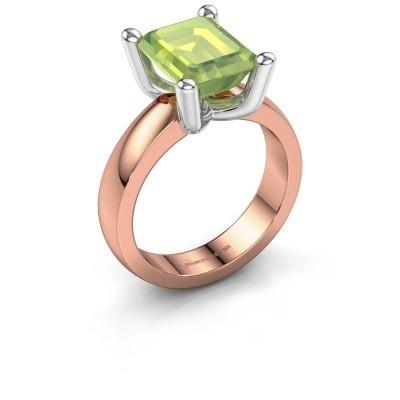 Ring Clelia EME 585 rosé goud peridoot 10x8 mm