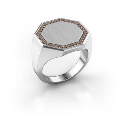 Heren ring Floris Octa 4 375 witgoud bruine diamant 0.30 crt