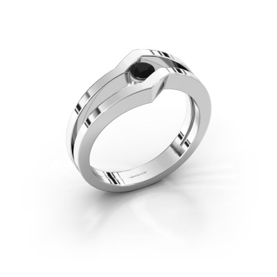 Ring Elize 585 white gold black diamond 0.18 crt