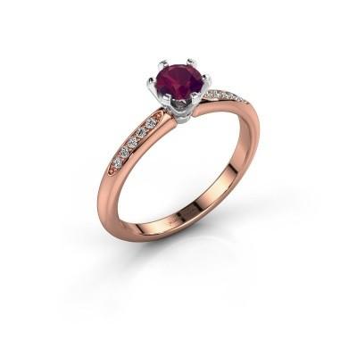 Verlovingsring Tiffy 2 585 rosé goud rhodoliet 4.7 mm