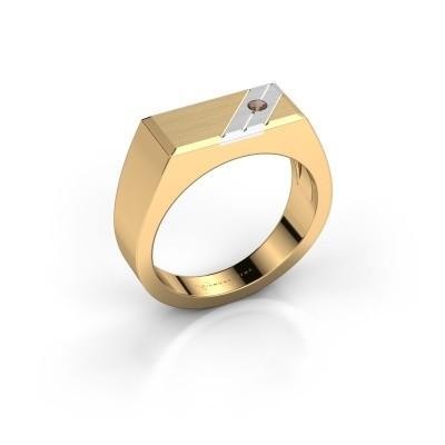 Men's ring Dree 5 585 gold smokey quartz 2.4 mm
