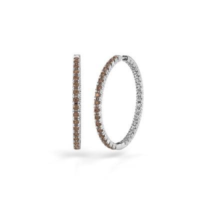Foto van Creolen Miki 30mm 950 platina bruine diamant 2.16 crt