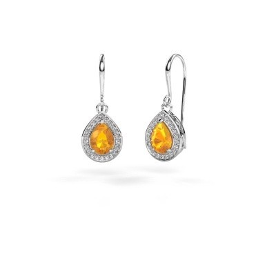Picture of Drop earrings Beverlee 1 950 platinum citrin 7x5 mm