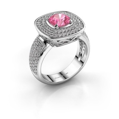 Ring Eliana 925 zilver roze saffier 6 mm