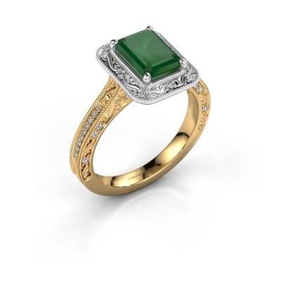Verlovings ring Alice EME 585 goud smaragd 7x5 mm