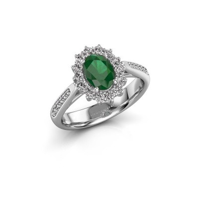 Picture of Engagement ring Margien 2 585 white gold emerald 7x5 mm