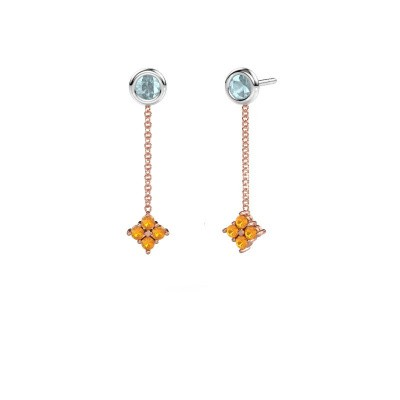 Drop earrings Ardith 585 rose gold citrin 2 mm