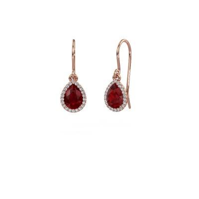 Oorhangers Seline per 375 rosé goud robijn 7x5 mm