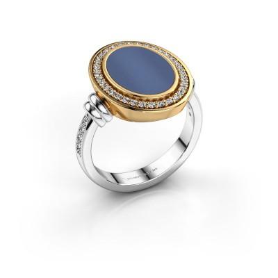 Foto van Zegelring Cristina 585 witgoud blauw lagensteen 14x10 mm