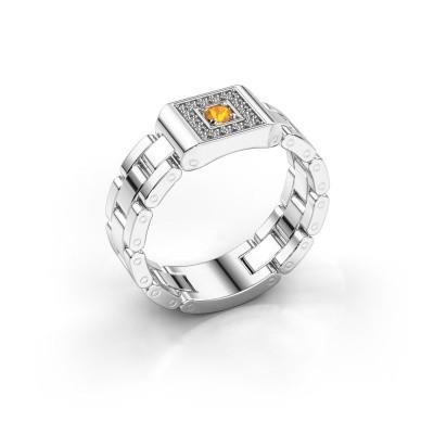 Rolex Stil Ring Giel 950 Platin Citrin 2.7 mm