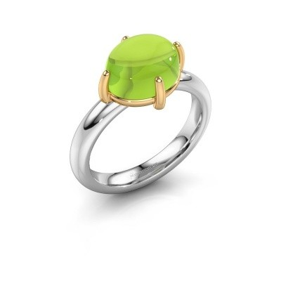 Ring Melodee 585 witgoud peridoot 10x8 mm
