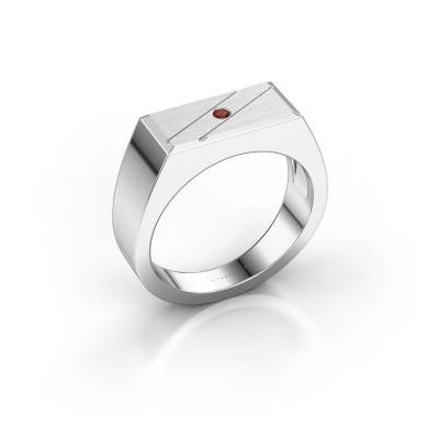 Men's ring Dree 3 950 platinum garnet 2 mm