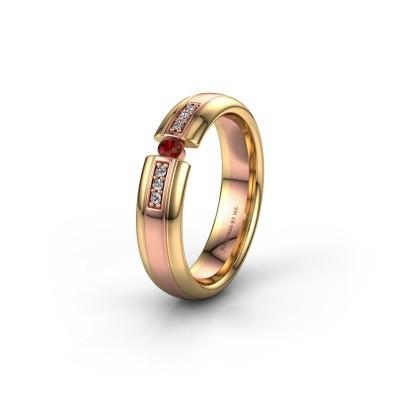 Trouwring WH2128L26C 585 rosé goud granaat ±5x2 mm