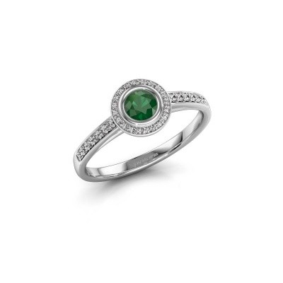 Engagement ring Noud 2 RND 585 white gold emerald 4 mm