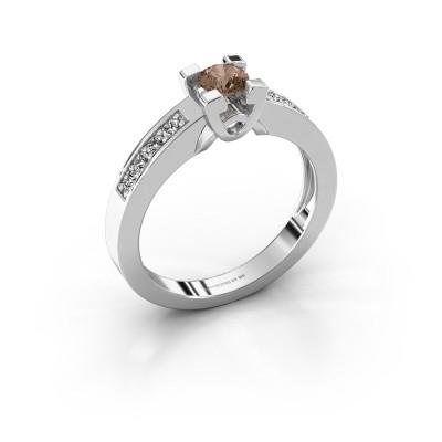 Verlovingsring Nina 2 585 witgoud bruine diamant 0.460 crt