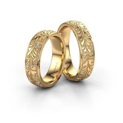 Foto van Trouwringen set WH2074LM26D ±6x2.4 mm 14 karaat goud diamant 0.008 crt