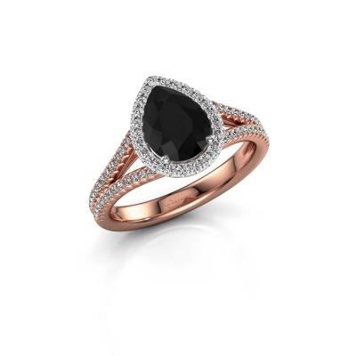 Foto van Verlovingsring Verla pear 2 585 rosé goud zwarte diamant 1.637 crt