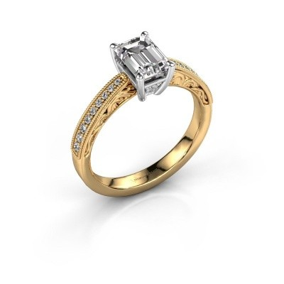 Picture of Engagement ring Shonta EME 585 gold zirconia 7x5 mm