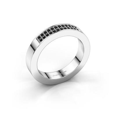 Stackable ring Catharina 1 950 platinum black diamond 0.192 crt