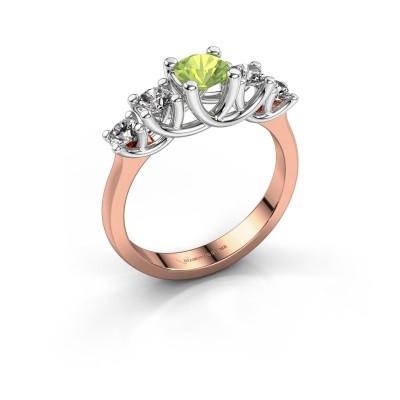 Engagement ring Jet 585 rose gold peridot 5 mm