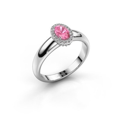 Verlovingsring Tamie 950 platina roze saffier 6x4 mm