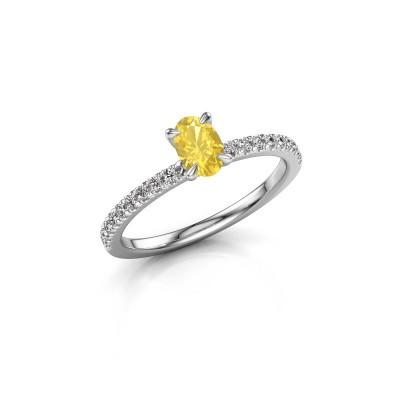 Foto van Verlovingsring Crystal OVL 2 585 witgoud gele saffier 6x4 mm