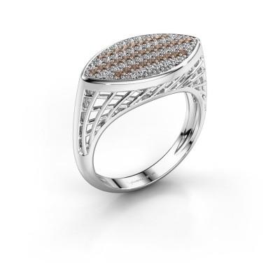 Ring Mireille 950 platina bruine diamant 0.449 crt