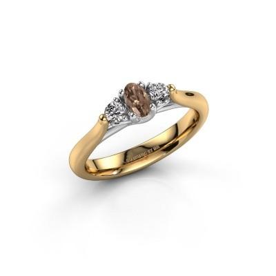 Bague de fiançailles Jente OVL 585 or jaune diamant brun 0.39 crt