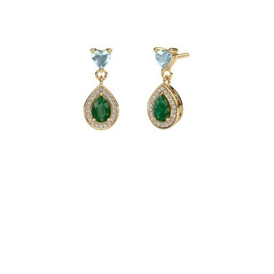 Picture of Drop earrings Susannah 750 gold emerald 6x4 mm