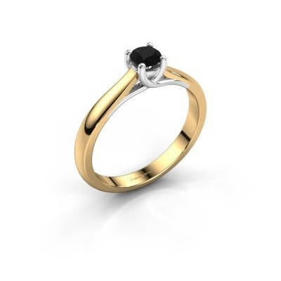 Photo de Bague de fiançailles Mia 1 585 or jaune diamant noir 0.30 crt