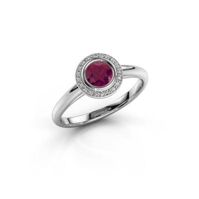 Promise ring Noud 1 RND 585 witgoud rhodoliet 4.7 mm